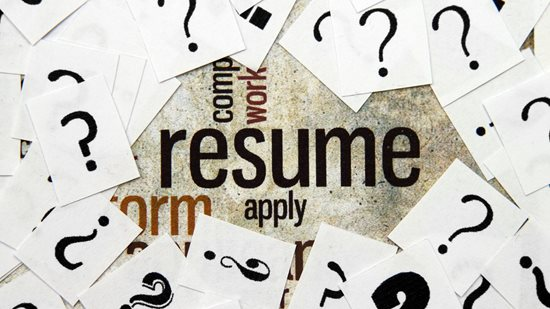 The word resume surrounded by question marks